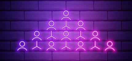 neon incandescente referral marketing icona isolato su sfondo muro di mattoni. marketing di rete, partnership commerciale, strategia del programma di riferimento. illustrazione vettoriale