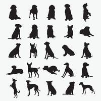 set di modelli di disegno vettoriale di sagome di cani