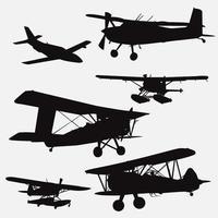 set di modelli di disegno vettoriale di sagome di piccolo aereo