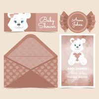 Vector carino orso doccia Baby Card