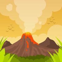 Eruzione piana del vulcano con l'illustrazione del fondo di vettore del cielo arancio