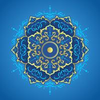 Vettore degli ornamenti decorativi della mandala dell'oro e del blu