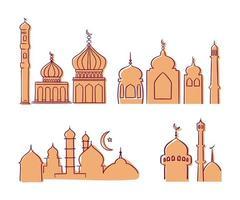 collezione di costruzione moderna ed elegante moschea islamica vettore