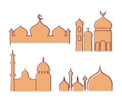 collezione di costruzione moschea islamica elegante piatto moderno vettore