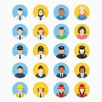persone con diverse professioni avatar round icona vettore