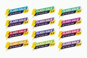 Flash vendita badge promozione banner per lo shopping vettore