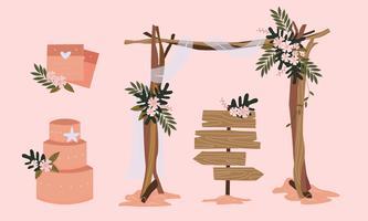 Insieme dell'illustrazione di vettore dell'elemento di nozze della spiaggia
