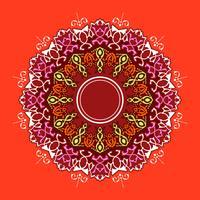 Vettore rosso del fondo degli ornamenti decorativi della mandala
