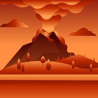 vettore di paesaggio vulcano