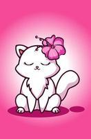 un grazioso gatto bianco con un fiore nell'orecchio vettore