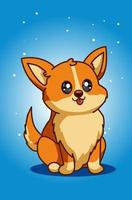 illustrazione di cane cucciolo carino e felice vettore