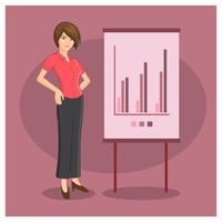 Presentazione della donna di affari di carattere vettore