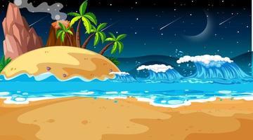 scena di paesaggio spiaggia tropicale di notte vettore