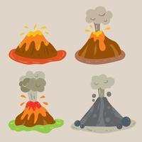 vettore di vulcano dei cartoni animati