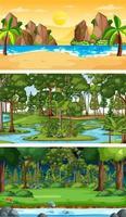 set di diverse scene orizzontali della foresta in tempi diversi vettore