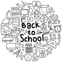 torna a scuola doodle illustrazione vettore