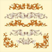 Ornamento barocco vintage con stile inciso vettore