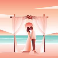 Matrimonio in spiaggia vettore