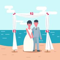 Illustrazione vettoriale di matrimonio spiaggia