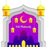 semplice eid mubarak con moschea e lanterna vettore