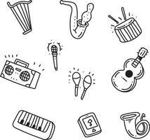 set di strumenti musicali doodle vettore