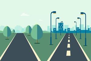 scena di paesaggio urbano con strada in due modi e illustrazione vettoriale di sfondo cielo.strada alla città e scena rurale