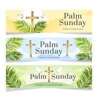 domenica delle palme con striscione a croce vettore