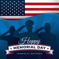 memorial day con silhouette di soldato vettore