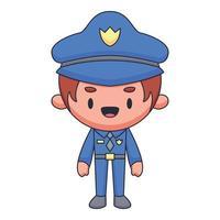 illustrazione di kawaii di vettore di concetto disegnato a mano di scarabocchio del fumetto del poliziotto