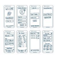 App di musica Elementi wireframe vettore
