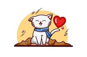 gatto autunnale con amore vettore
