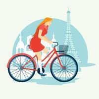 Donna in sella a una bicicletta Bonjour Parigi
