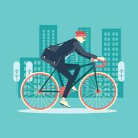 Cool uomo d'affari maschile in bicicletta in ufficio vettore