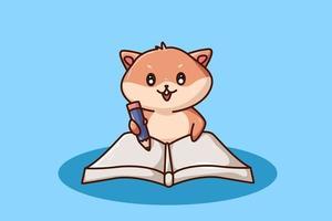un simpatico criceto che scrive in un libro vettore