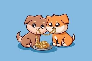 due cani di piccola taglia che mangiano insieme vettore