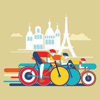 Gara di bici da corsa per competizione vettore