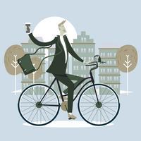 Uomo d'affari maschio equitazione biciclette e tazza un caffè in ufficio con stile scandinavo vettore