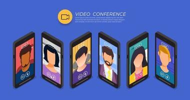 squadra che fa videoconferenza online vettore