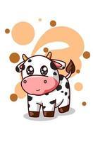 una piccola illustrazione di mucca bambino carino vettore