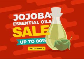 Vettore dell'insegna di vendita degli oli essenziali di Jojoba