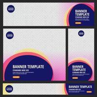 set di banner web standard con disegni geometrici astratti colorati vettore