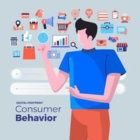 icone di analisi del comportamento dei consumatori vettore