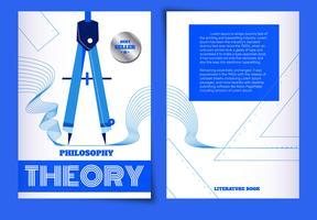 Copertina del libro di filosofia di vettore di concetto di geometria del righello blu di vettore
