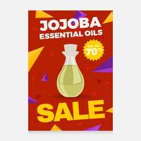 Vettore del manifesto di vendita degli oli essenziali di Jojoba