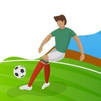 Il calciatore minimalista moderno del Messico per la coppa del Mondo 2018 gocciola una palla con l'illustrazione di vettore del fondo di pendenza