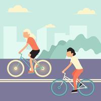 Bici di guida nell'illustrazione di vettore della città