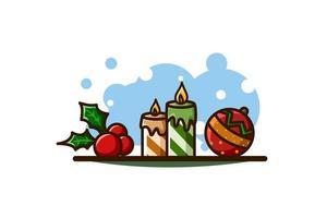 foglie di agrifoglio, candele e palla, icona di Natale vettore
