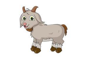 una piccola capra felice con gli occhi verdi, disegno illustrazione vettoriale cartone animato animale