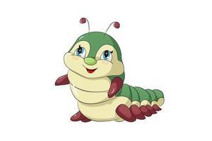 un piccolo bruco giallo e verde sveglio e felice, illustrazione di vettore del fumetto animale di progettazione