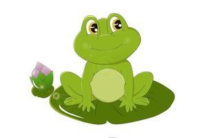 una rana verde sorridente con gli occhi marroni sulla pianta del loto, disegno animale fumetto illustrazione vettoriale